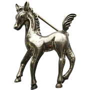 Vintage Sterling Silver Horse Pony Pin Brooch