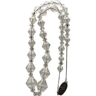 Vintage Clear Faceted Glass Crystal Necklace on Sterling Chain
