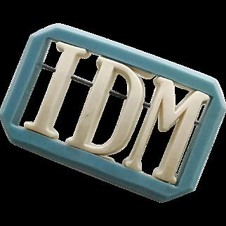 "Vintage Interchangeable Letters ""I"", ""D"", ""M"" IDM Plastic Pin Brooch"