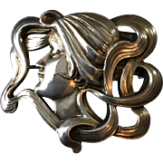 Antique Large Art Nouveau Sterling Silver Woman Face and Hair Brooch