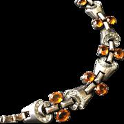 Vintage Sterling Trifari Amber Rhinestone and Diamanté Bracelet