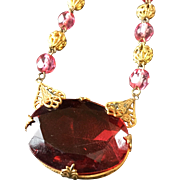 Vintage Necklace with Large Center Red Stone and Red/Goldtone Chain