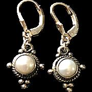 Vintage Sterling and Pearl Pierced Wire Dangling Earrings
