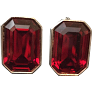 Vintage YSL Yves St Laurent Ruby Red Pierced Earrings