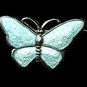 Vintage Volmer Bahner VB Sterling Denmark Baby Blue Butterfly Pin