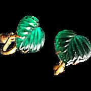 Vintage Green Glass Vauxhall Art Deco Heart-Shaped Earrings