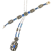 Vintage Open-Back Blue Rhinestone and Marcasite Necklace and Snap-on Bracelet Set