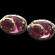Vintage Trifari Dimensional Oval Red-Purple Earrings