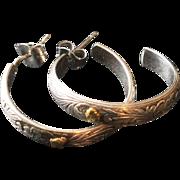 Vintage Swirl and Flower Etched Hoop Sterling Silver Pierced Earrings