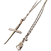 Vintage Sterling Silver Cut Cross Pendant on Sterling Silver Chain Necklace