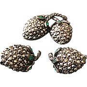 Vintage Weiss  Green Rhinestone and Marcasites Strawberry Pin and Earrings Set