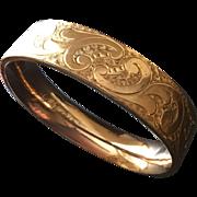Antique Bates & Bacon Gold-Filled Scrolled Hinged Bangle Bracelet
