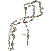 Vintage Highly-Faceted Crystal and Pewter Crucifix Rosary, Pope Paul VI
