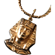 Vintage Gold-Filled Winand King Tut Pendant on Chain Necklace