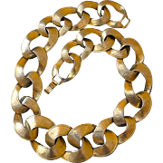 Vintage 19-Inch Goldtone Textured Large Link Necklace