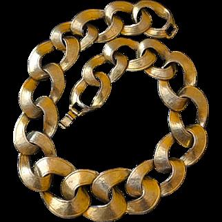 Vintage 19-Inch Goldtone Textured Large Link Necklace