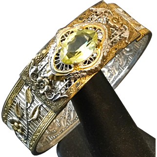 Vintage Pierced Mixed Metal & Swarovski Citrine-colored Stone  Hinged Bangle Bracelet