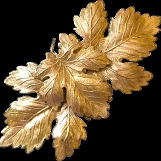 Vintage Goldtone Maple or Oak Leaf Large Textured Pin Brooch