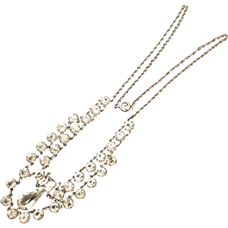 Vintage Clear Crystal Delicate Festoon Art Deco White Gold-filled Necklace