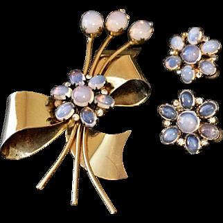 Vintage Coro Sterling Moonstone Flower Brooch Pin and Earrings Set