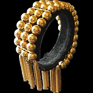 Vintage Hobe Triple Strand Goldtone Bead Bracelet with Fringe