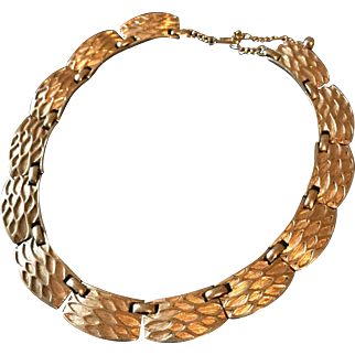 Boucher Vintage Goldtone Textured Necklace