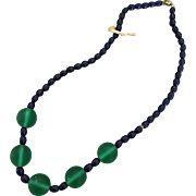 Vintage Czech Green Satin Bead and Black Bead Necklace, w Original Label