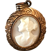 Antique Angel Skin Coral Cameo Set in 10k Gold Pendant