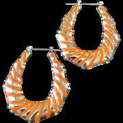 Vintage 1970s Large Groovy Orange and Silver Stripe Hoop Pierced Earrings