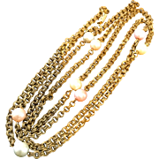 Vintage Long 52 Inch Heavy Brass Chain Necklace with 8 Faux Pearls