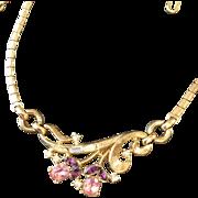 Vintage Trifari Pink and Purple Rhinestone and Goldtone Necklace
