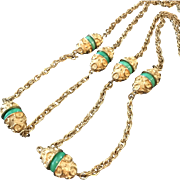 Vintage Trifari Long 42 Inch Necklace With Swirled Green Glass Beads
