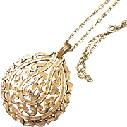 Vintage Long Trifari Goldtone Necklace with Oval Textured Pendant