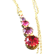 Red, Pink, Purple Rhinestone and Goldtone Vintage Necklace, Prom or Bridesmaid