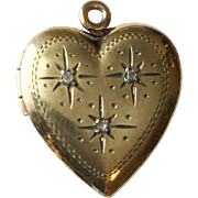 Vintage Puffy Heart Locket in Sterling Silver and Gold Fill Pendant or Charm