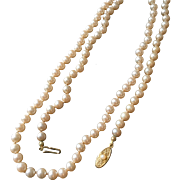 Vintage Faux Pearl Long 31 Inch Necklace with Clasp, Individually Knotted