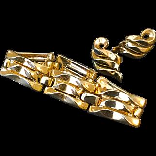 Vintage Trifari Goldtone Bracelet and Earrings Set 1955-1969