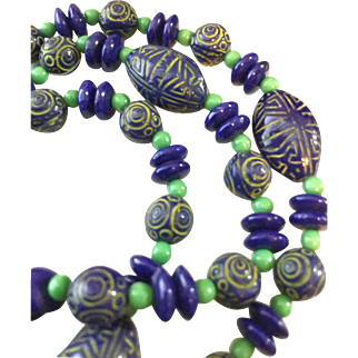 Vintage Bead Necklace in Green and Blue Egyptian Design, Long 32 Inches