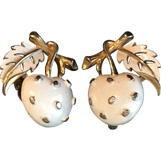 Vintage Strawberry Earrings in White, Signed Trifari