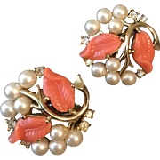 Vintage Faux Pearl Earrings, Signed Trifari, With Peach Leaves