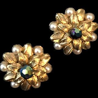 Vintage Trifari Earrings with Faux Pearls, AB Stones in Goldtone