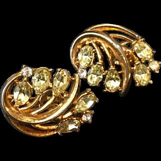 Vintage Trifari Earrings With Citrus Yellow Rhinestones