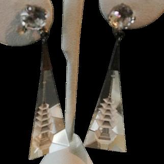 Vintage Rock Crystal Reverse Carved Glass Pagoda Long Earrings