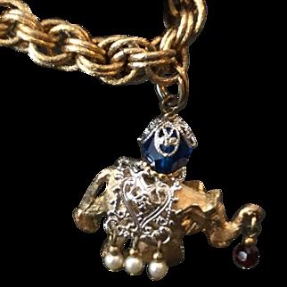 Vintage Napier Charm Bracelet with Fancy Elephant Charm