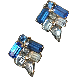 Vintage Blue Earrings with Four Shades of Blue Rhinestones
