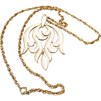 Vintage Trifari Necklace with Large White Enamel Pendant and Long 28 Inch