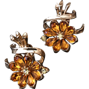 Vintage Coro Earrings with Yellow Amber Rhinestones in Flower Design