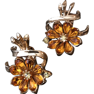 Vintage Coro Earrings with Yellow Amber Rhinestones in Flower Design