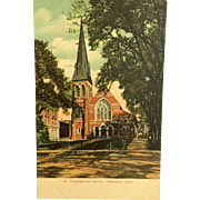 Vintage Undivided Back Lithochrome Postcard from Waterbury, CT, 1st Congregational Church