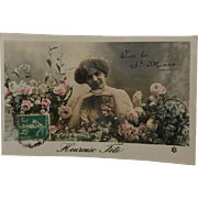 Vintage French Hand-Colored Postcard, RPPC and DB, Pretty Lady With Flowers